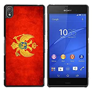Paccase / SLIM PC / Aliminium Casa Carcasa Funda Case Cover - National Flag Nation Country Montenegro - Sony Xperia Z3 D6603 / D6633 / D6643 / D6653 / D6616