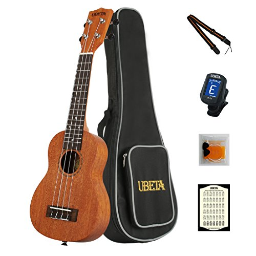 Super Action Card - UBETA US-031 Soprano Ukulele 21 Inch Beginner Travel Mahogany Ukulele Bundle with Gig bag, clip-on tuner, picks,strings chord card and strap