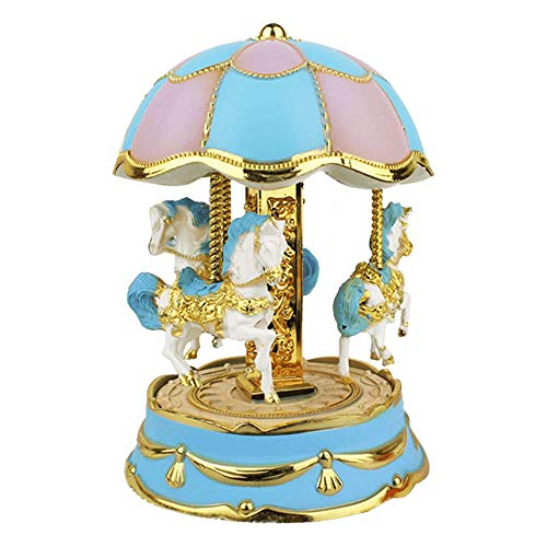 Music Box 3-Horse Moving Up and Down Carousel Music Boxes Battery Operated Luxury Color Change LED Light Luminous Rotating Cute Toy Musical Box Children Kids Boys/Girls Birthday Gift (Blue)