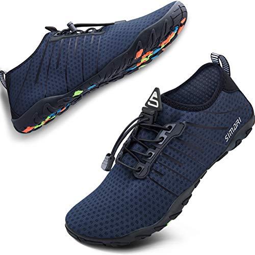 SIMARI Womens Mens Sports Water Shoes Quick Dry Barefoot for Swim Diving Surf Aqua Pool Beach Walking Yoga 215 Purplish Blue 14W/13M