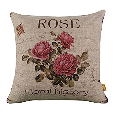 LINKWELL 18  x 18  inches Vintage Pink Rose Burlap Pillow Cover