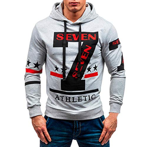 Joint Long Sleeve - Joint Men's Patterns Print Athletic Sweaters Fashion Hoodies Sweatshirts Autumn Winter Casual Long Sleeve Hooded Top Blouse (X-Large, Gray)