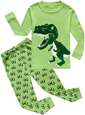 Boys Pajamas Dinosaur Little Kids Pjs Sets 100% Cotton Toddler Sleepwears