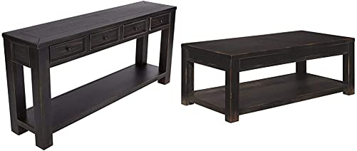 Signature Design by Ashley – Gavelston Console Table, Rubbed Black Finish Gavelston Coffee Table, Rubbed Black Finish