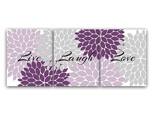 UNFRAMED PRINTS (CHOOSE YOUR SIZES) - Home Decor Wall Art Live Laugh Love Purple Flower Burst Art Bathroom Decor Purple Grey Bedroom Decor - HOME70