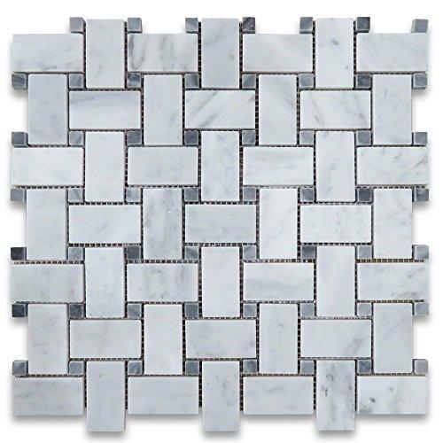 Carrara White Italian Carrera Marble Basketweave Mosaic Tile w/Dark Gray Dots 1 x 2 Honed