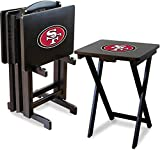 Imperial Officially Licensed NFL Merchandise: Foldable Wood TV Tray Table Set with Stand, San Francisco 49ers