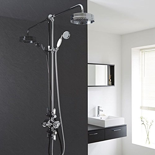 Traditional Thermostatic Complete Shower System With Triple Exposed Brass  Valve, Round Wall Mounted Showerhead,