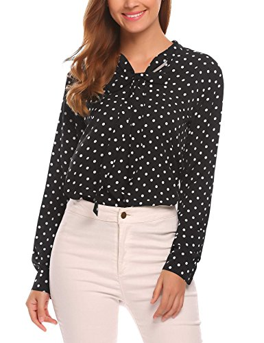 Polka Dot Chiffon Blouse - Beyove Women Chiffon Blouse V Neck Long Sleeve Top Polka Dot Shirts Black 2/XL