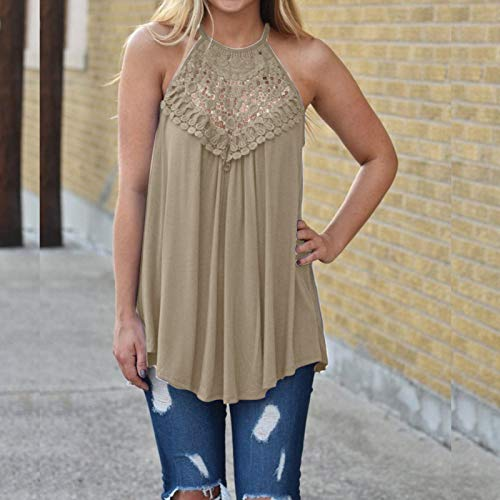 Fashion Trend t-Shirt, Fashion New Trend Casual Lace Stitching Sleeveless Round Neck Top for Ladies Girls(Beige_16,M