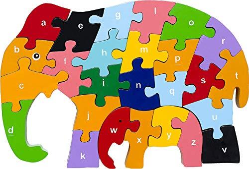 Red Fish Toys Wooden Alphabet Puzzle - Elephant