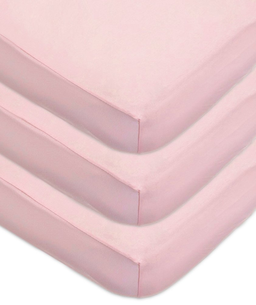 American Baby Company 3 Pack 100% Cotton Jersey Knit Fitted Crib Sheet for Standard Crib and Toddler Mattresses, Pink, for Girls