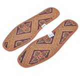 Polyester Motif floral Paire Semelles Pads de chaussures Yellow Brown US Taille 9.5 pour Homme