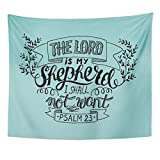 TOMPOP Tapestry Believe Hand Lettering the Lord Is My Shepherd I Shall Not Want Psalm Biblical Christian Bell Bible Home Decor Wall Hanging for Living Room Bedroom Dorm 50x60 Inches