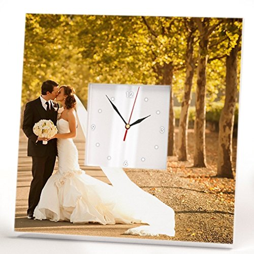 Personalized Wedding Photo Wall Clock Framed Mirror Custom Portrait Art Marriage Decor Gift Design