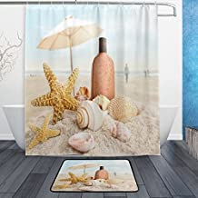 """Summer Holiday Stylish Starfish Seashell on ocean Sandy Beach Waterproof Polyester Fabric Shower Curtain (60"""" x 72"""") Set with 12 Hooks and Bath Mats Rugs (23.6"""" x 15.7"""") for Bathroom - Set of 2"""