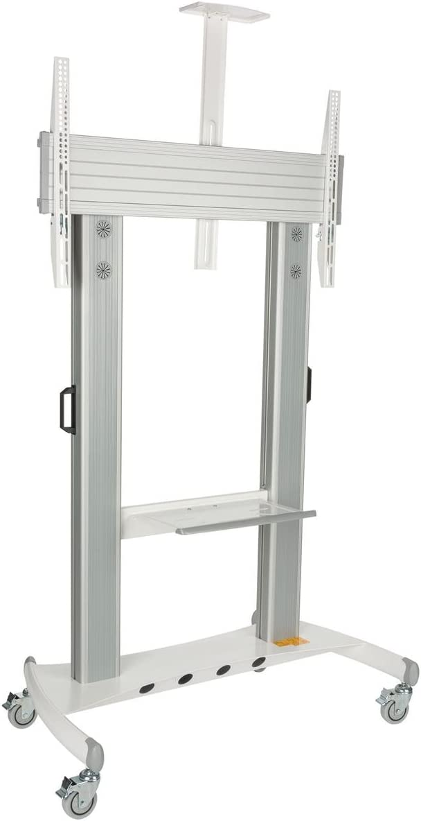 Displays2go TVSTN80 TV Stand for 60 to 100 Inch Flat Screen Monitors, Rolling, with Video Camera and Shelf, Locking Wheels