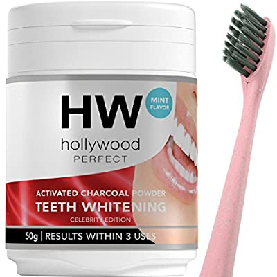 Hollywood Perfect Activated Charcoal Powder: Teeth Whitening Formula With Mint Flavor, Charcoal Bristles Toothbrush Included, Improve Dental Health, Quick Results Against Coffee And Tea Stains