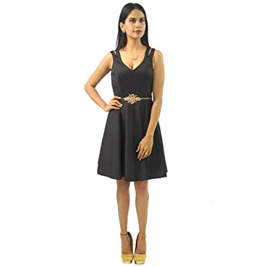 2fa03895eb Capybara Women's Taffeta Black Short Dress: Amazon.in: Clothing ...