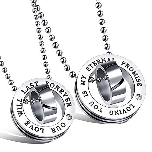 YF Couple Necklace,Titanium Steel Couple Necklace Simple with Drill Ring Buckle Pendant Student Accessories Jewelry Chain 50cm/45cm
