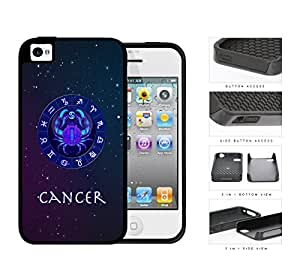 Cancer Astrological Sign With Horoscope Symbol 2-Piece Dual Layer High Impact Rubber Silicone Cell Phone Case Apple iPhone 4 4s
