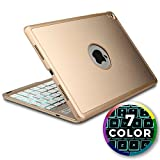 iPad Air 2 keyboard case, iPad Pro 9.7 Keyboard case [Bluetooth iPad Case with Keyboard] COOPER NOTEKEE F8S Backlit Wireless Clamshell Keyboard iPad Case | 7 Color LED Backlight, 60HR Battery (Gold)