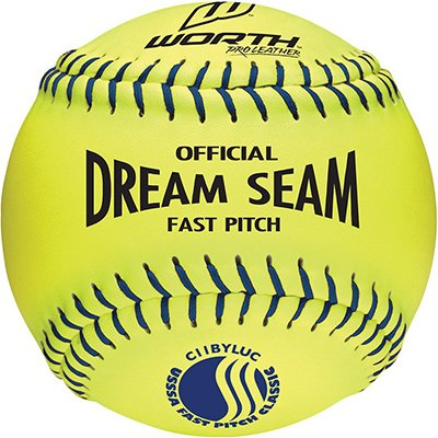 Dream Seam Softballs (Worth 11 USSSA Dream Seam PL Fastpitch Softballs YELLOW W/ BLUE STITCH 11 (ONE DOZEN))