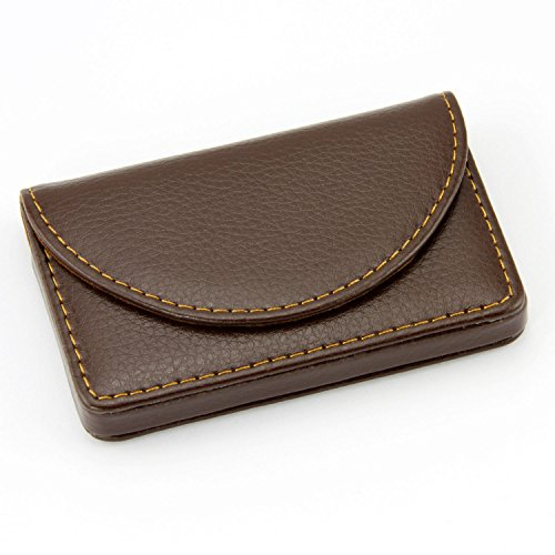 Partstock(TM) Leather Business Name Card Wallet / Holder 25 Cards 3.9L x 2.8W inches with Magnetic Shut.(Brown)