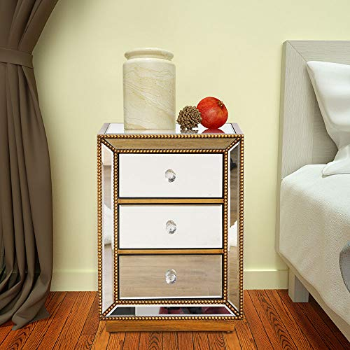Modern 3-Drawer Mirrored End Table, GA Home Nightstand Mirror Accent Table Bedroom Mini Cabinet, Antique Gold (Gold Mirrored Nightstand)