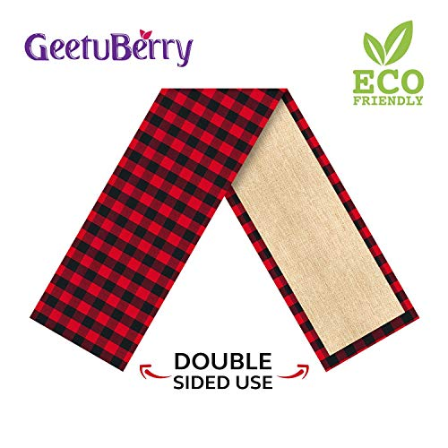 GeetuBerry Cotton & Burlap Reversible Buffalo Plaid Table Runner | Christmas, Family Dinners, Indoor & Outdoor Parties | Rustic, Lumberjack Themed Birthday Party Decor (Reversible Table Runner)