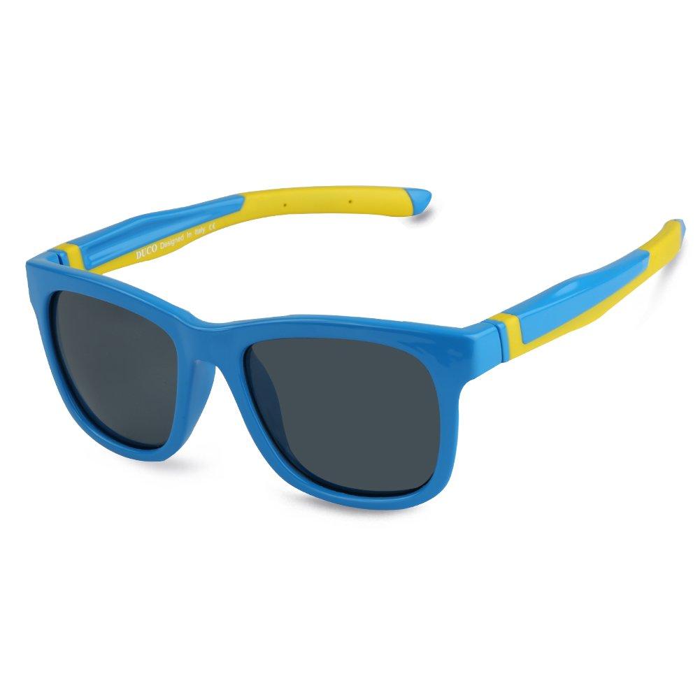 DUCO Kids Sports Style Polarized Sunglasses TPEE Flexible Frame Glasses For Boys and Girls K009