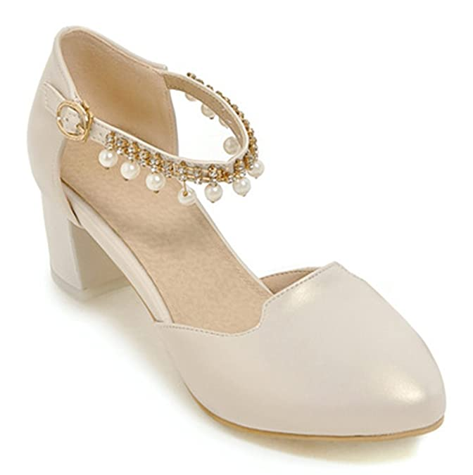 SHOWHOW Damen Süß Mittler Absatz Spitz Zehen Low Cut Künstliche Perlen Sandalen Weiß 31 EU qXK1i