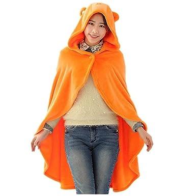 Mujer Chal Encapuchado Otoño Invierno Coral Fleece Capa Mode De Marca Abrigos Color Sólido Fashion Elegantes