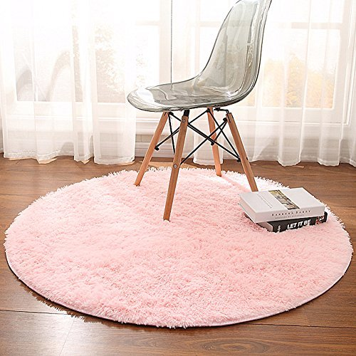 Junovo Super Soft Thick Anti-Skid Fluffy Round Children Area Rug for Living Room Bedroom Kids Room Nursery,4-Feet,Pink (Rugs Pink Nursery)