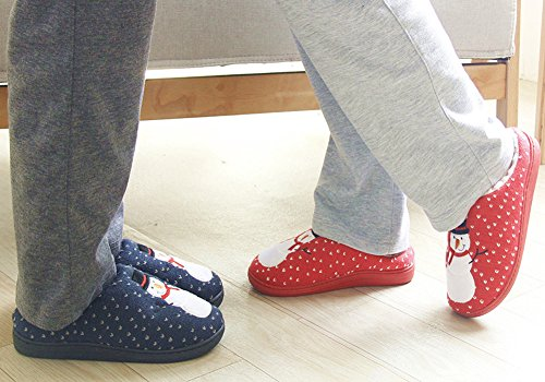Snowman Shoes Winter Mens and GOODS House Womens Print HW Slippers Red Couple IZqfv5