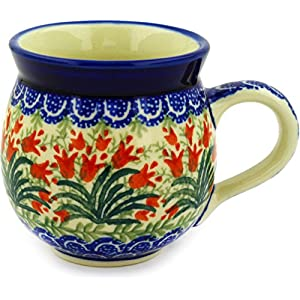 Polish Pottery Mug – 12 Oz. Bubble – Crimson Tulip