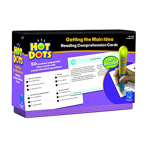 Educational Insights EI-2790 Hot Dots Reading Comprehension Cards - Getting The Main Idea, 50 Cards (Pack of 51)