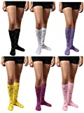 6 Pairs Women\'s Cotton Fancy Design Multi Color Knee High Socks (Musical Notes 2)