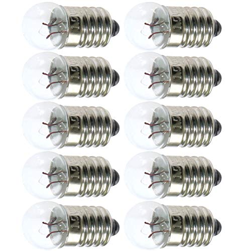(TOTOT 10pcs E10 Mini Light Bulbs 1.5V 0.3A Physical Electrical Experiment Screw Base Indicator Light Incandescent Bulb Old-Fashioned Flashlight Lamp)