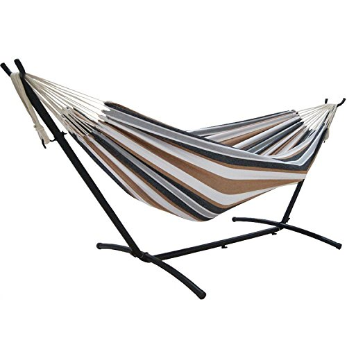 Tylor s Garden Double Hammock with Steel Stand, Capacity – 480 lbs. Desert Moon