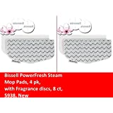 4 PACK BISSELL COMPATIBLE PowerFresh Steam Mop Pads (4 pk) with Fragrance discs (8 ct), 5938 Fits All PowerFresh 1940 Series Models including 19402, 19404, 19408, 1940A, 1940Q, 1940T