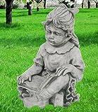 Mädchen 44cm handgefertigt massiv 26kg Beton Steinfiguren Garten Deko Statue