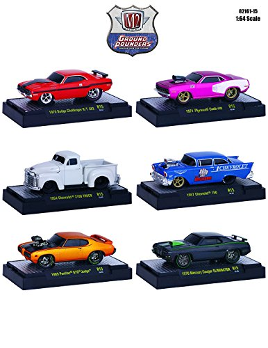 Ground Pounders 6 Cars Set Release 15 IN DISPLAY CASES 1/64 by M2 Machines 82161-15 (1971 Dodge Challenger Diecast compare prices)