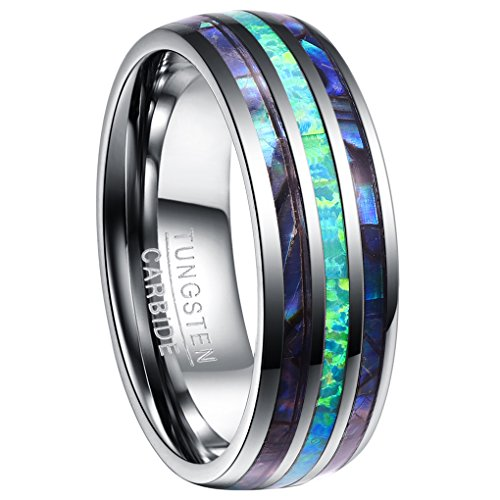 Nuncad Men's 8mm Tungsten Wedding Band with Shell and Opal Comfort Fit High Polished Domed SIze - Shell Opal