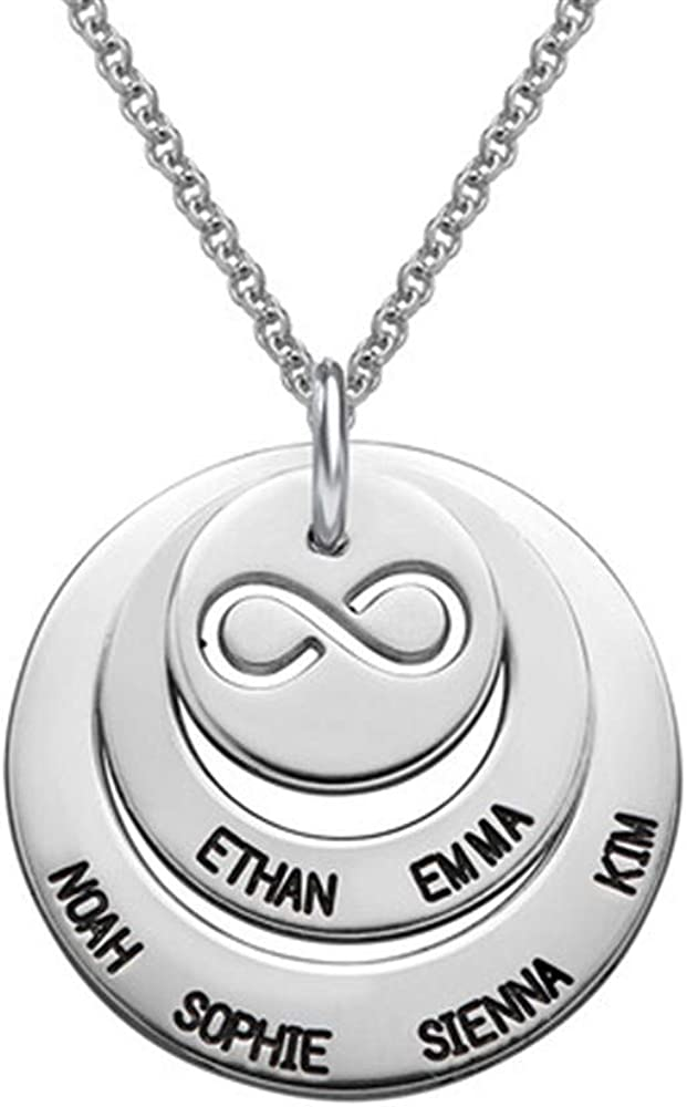 Quality.A Personalized Engraved Name Necklace Discs Circle Names Necklace for Mom Jewelry