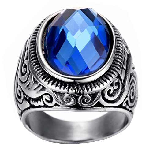 5d3ac2cad774 De alta calidad HIJONES Hombre Acero Inoxidable Patrón Vintage Azul Marino  Óvalo Anillo De Piedras Preciosas