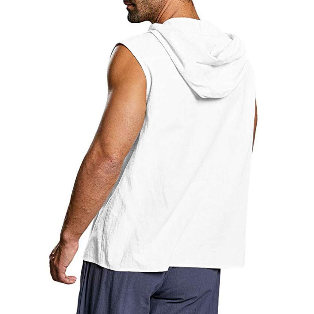 Tank Tops Men Baggy Cotton Linen Solid Button Beach Sleeveless Hooded Shirt