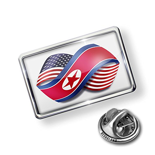 Pin Infinity Flags USA and North Korea - Lapel Badge - NEONBLOND (Usa Korea Lapel Pin)