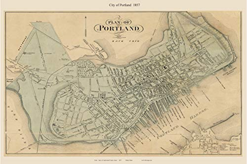 Portland City, Maine 1857 Old Town Map with Homeowner Names - Custom Reprint TM Cumberland Co. (A Map Of Maine With Towns And Cities)