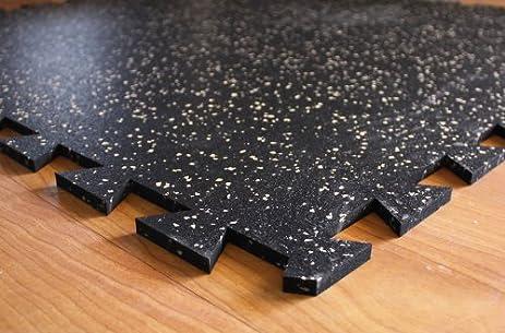 IncStores Tight-Lock Rubber Gym Tiles - (4 Tile Pack, Tan) Gym Mats ...